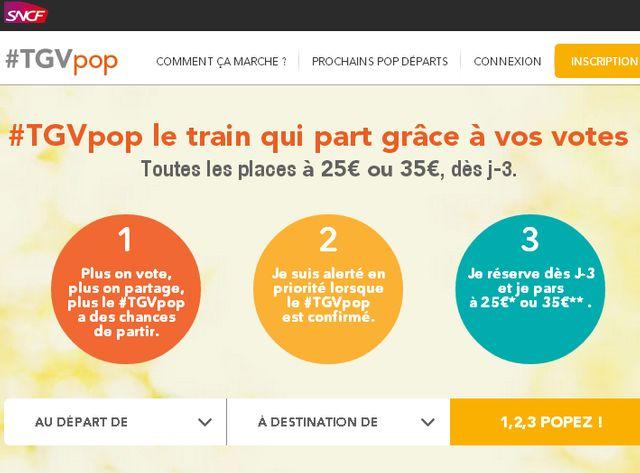 TGV Pop, nouvelles offre de la SNCF