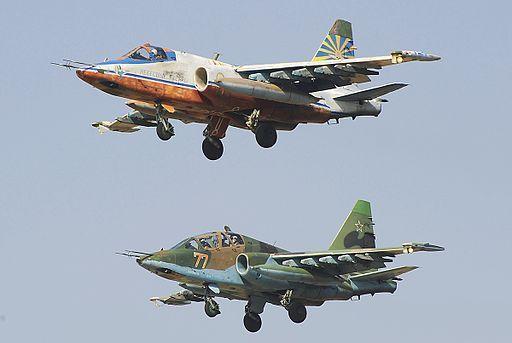 Sukhoi-25 en vol,du même modèle que ceux qui ont bombardé le camp de Bouaké