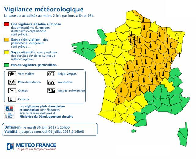 carte vigilance météo 30 juin 16h