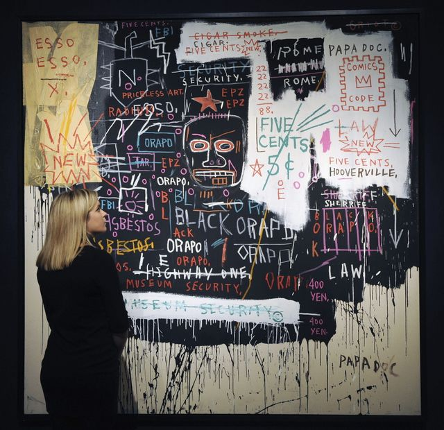 """Museum security"" de Basquiat à la salle Christies de Londres"