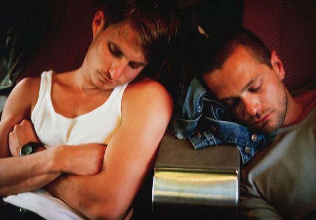 Clemens and Jens on the train to Paris 1999 Exposition Chéreau Festival d'Avignon
