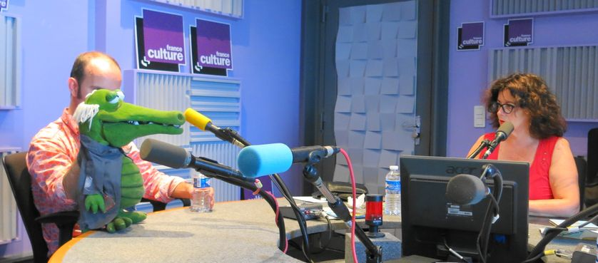 France Culture, studio 153, pendant l'émission ... Chico le croco & David Delabrosse, Aline Pailler (deg. à d.)