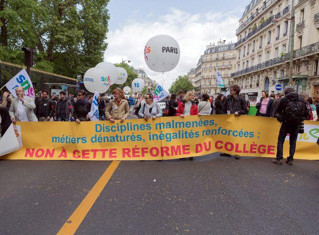 Lors de la mobilisation du 19 mai contre la réforme des collèges.