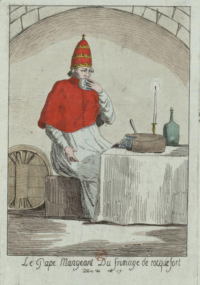Scène satirique : Le Pape mangeant du fromage de rocquefort - 1791