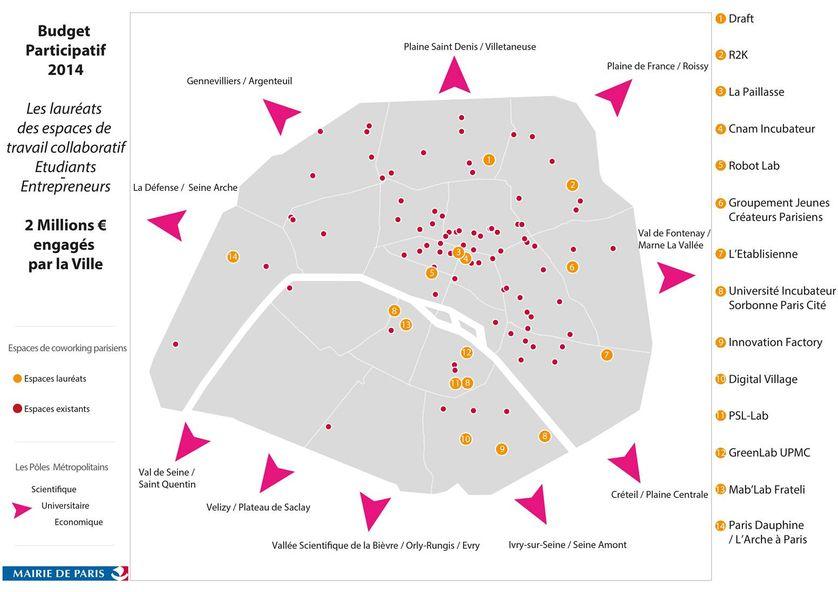 Carte de 14 espaces de coworking réunissant étudiants et entrepreneurs financés par la ville de Paris