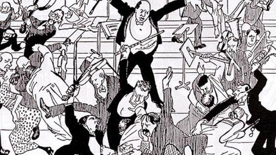 Watschenkonzert (Concert des gifles), caricature publiée dans Die Zeit du 6 avril 1913