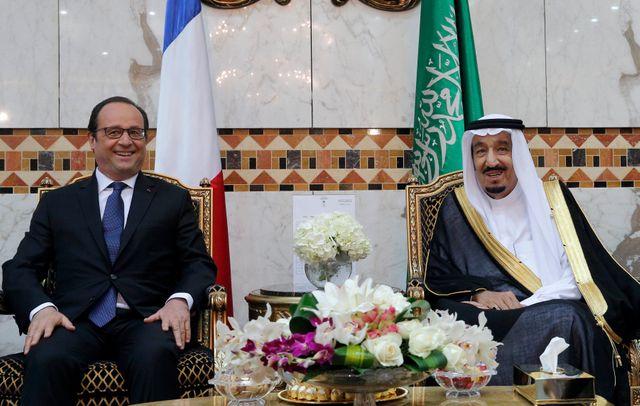 François Hollande et le roi Salmane d'Arabie Saoudite