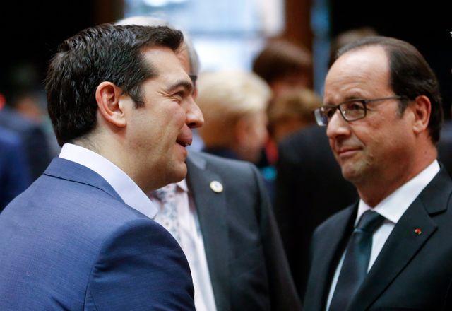 François Hollande et alexis Tsipras à Bruxelles