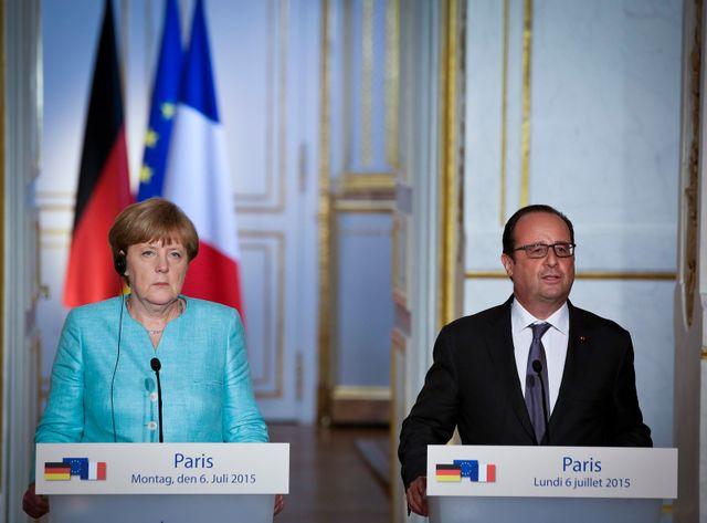 Hollande et Merkel ont repris la main sur le dossier grec hier à l'Élysée.
