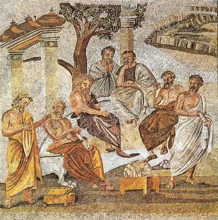 L'Académie de Platon (mosaïque romaine trouvée à Pompéi)