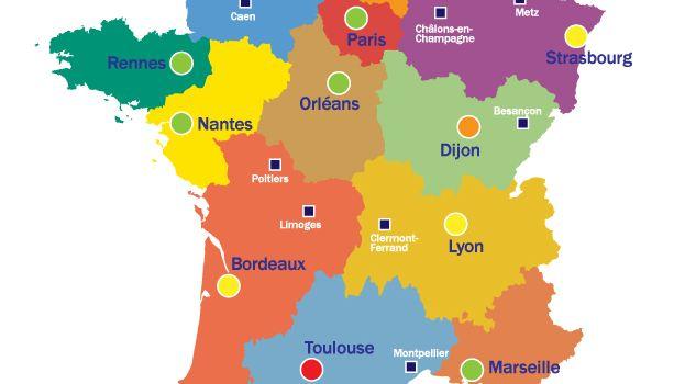 La carte des capitales de régions annoncées par le Gouvernement
