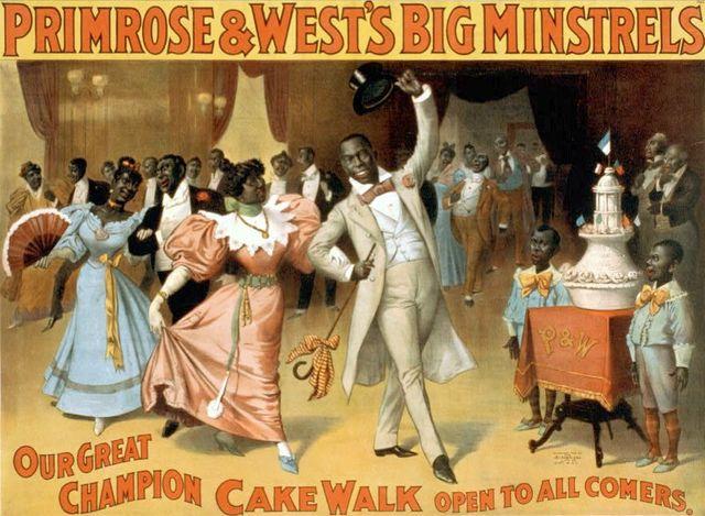 Grande compétition de cake-walk ouverte à tous. Affiche de spectacle américaine de 1896.