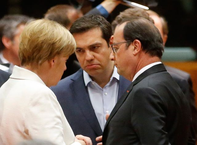 Angela Merkel, Alexis Tsipras et François Hollande à Bruxelles