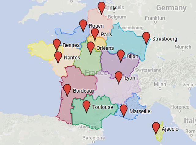 Carte des régions et capitales régionales (juillet 2016)
