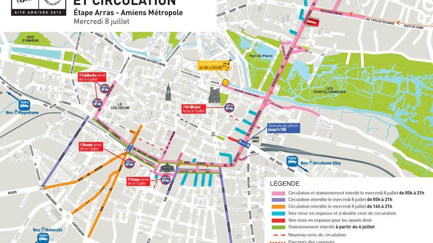 Tour de france circulation et stationnement difficiles for Plan d amiens