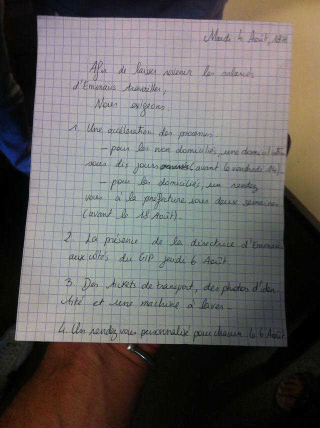Les revendications des migrants à Vincennes
