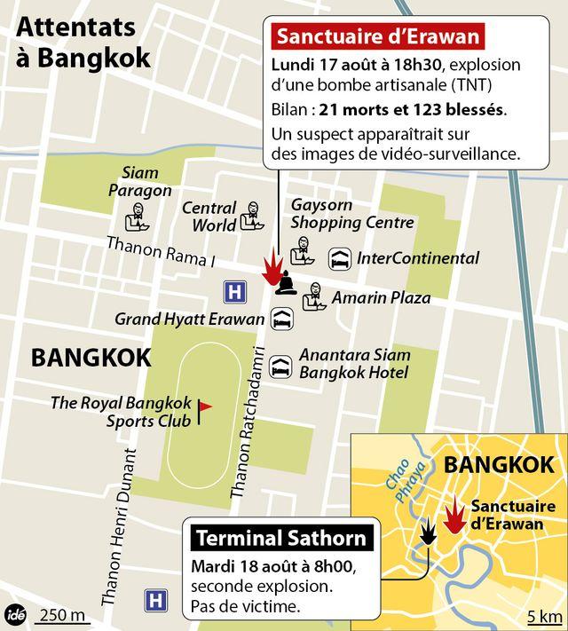 Attentat à Bangkok. Carte et bilan.