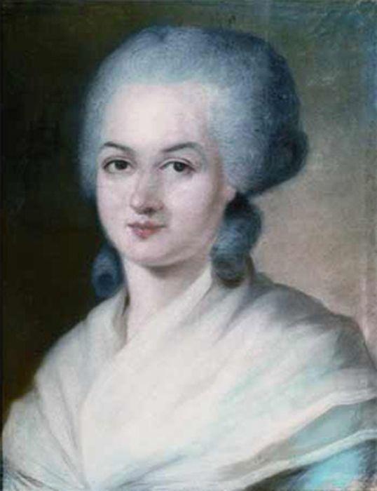 Détail du portrait d'Olympe de Gouges réalisé par Kucharski