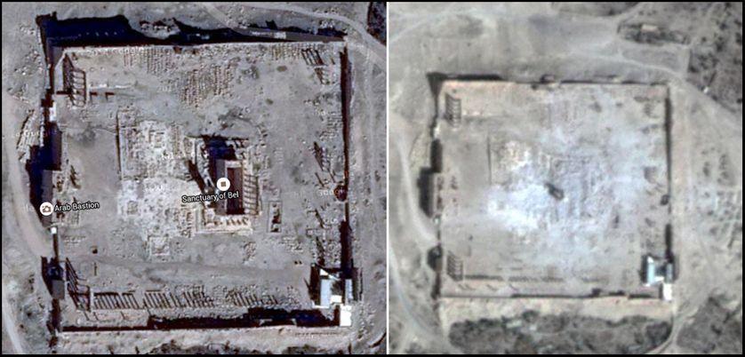 Le temple de Bêl, à Palmyre, en Syrie, avant et après sa destruction par Daech en août 2015