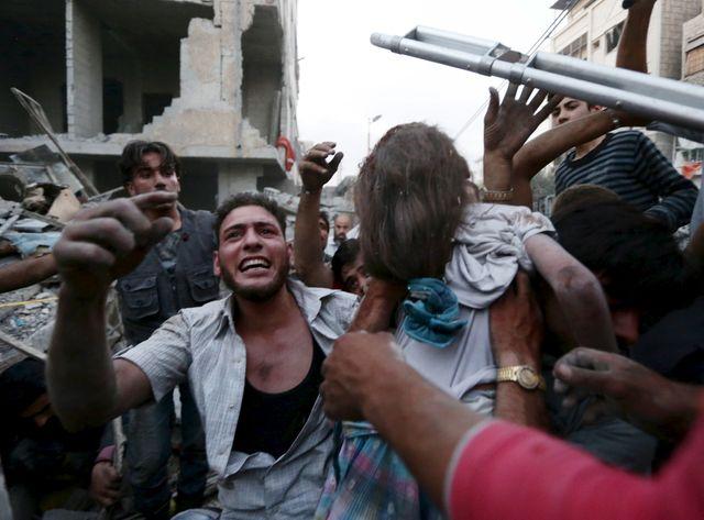 Dans le quatier de Douma à Damas