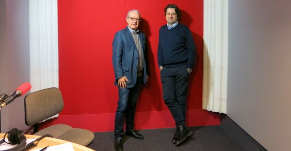 France Musique, studio 52... Riccardo Del Fra & Bruno Mantovani (de g. à d.) ©Annick Haumier-Radio France