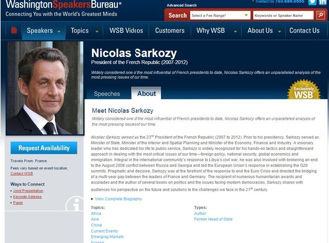 Capture d'écran du site Washington Speakers Bureau, l'agence qui gère les prestations de Nicolas Sarkozy