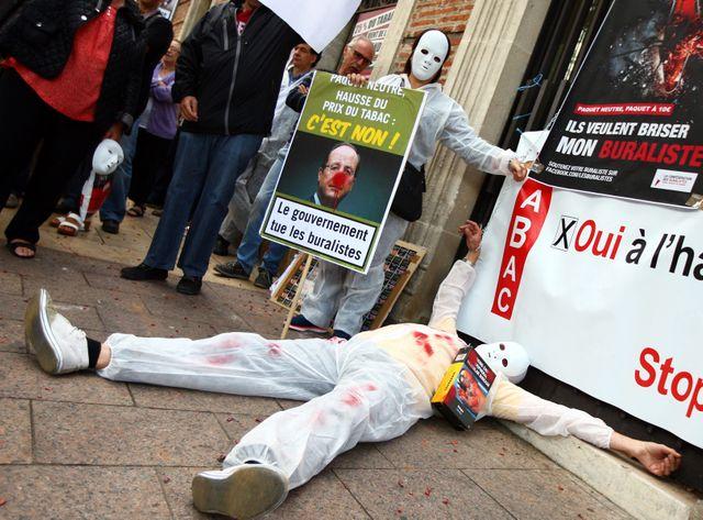 Manifestation de buralistes en colère à Perpignan