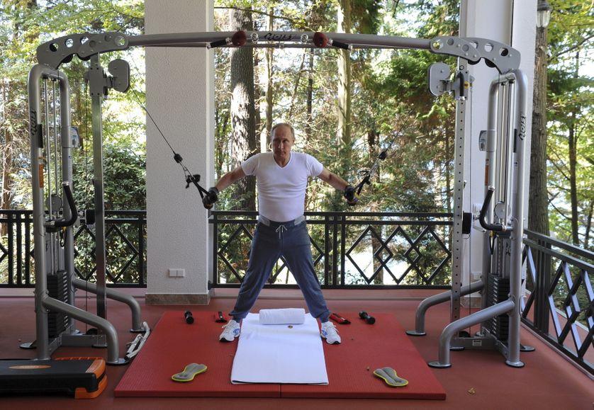 Russian President Vladimir Putin exercises in a gym at the Bocharov Ruchei state residence in Sochi.