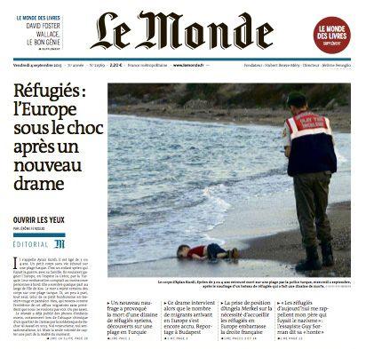 Une du journal Le Monde du vendredi 4 septembre 2015