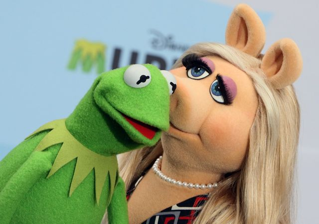 "-  Kermit et Peggy à un photocall pour le film ""Muppets most wanted"""
