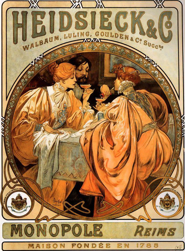 Lithographie d'Alfons Mucha pour la société Heidsieck & Co en 1901