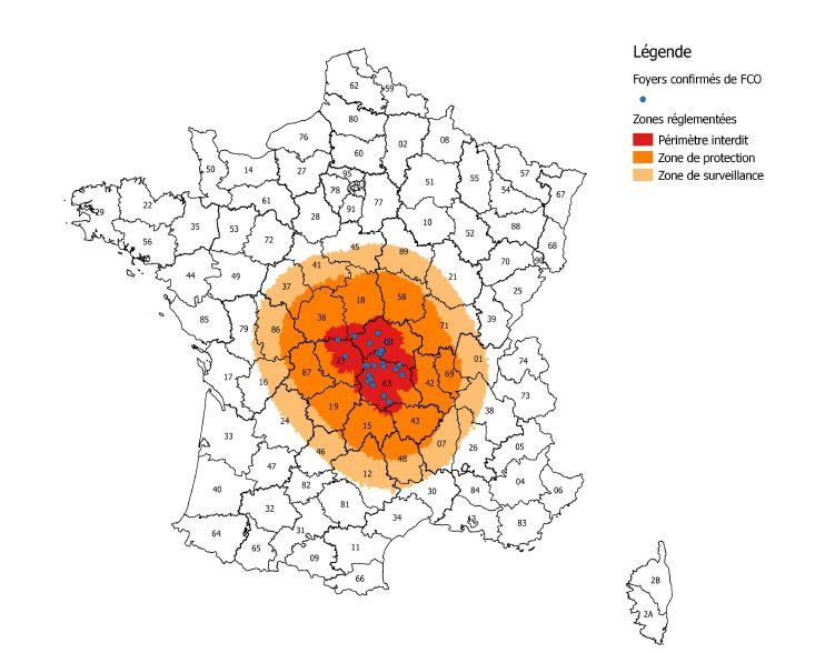 Carte des zones impactées par la fièvre catarrhale ovine