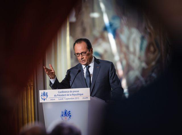 Le president de la republique Francois Hollande lors de sa grande conference de presse semestrielle à l'Elysée