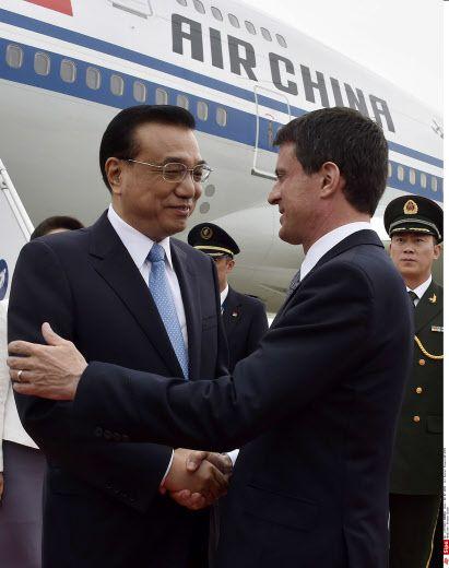 Manuel Valls et son homologue chinois à l'aéroport de Toulouse-Blagnac, 2 juillet 2015