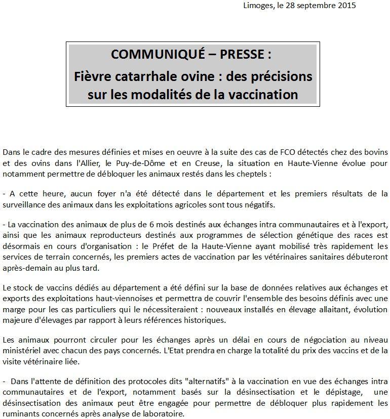 Le communiqué de la préfecture de Haute-Vienne