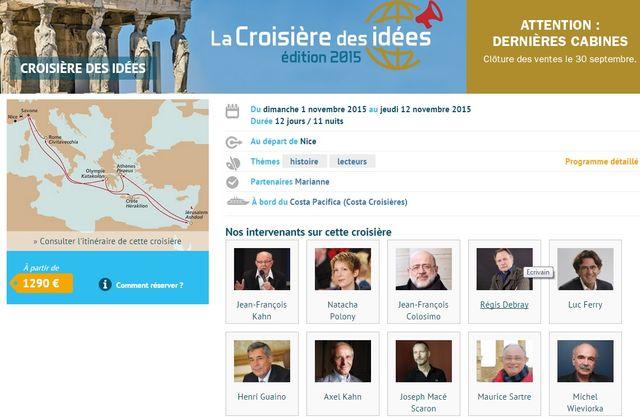 """Capture d'écran du site """"Crosières thématiques"""""""