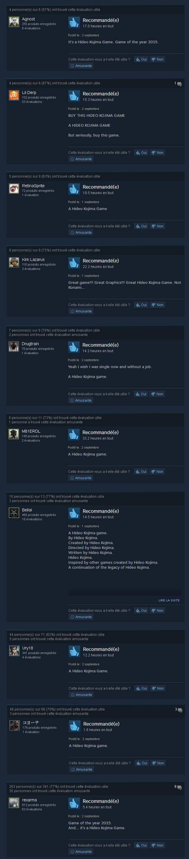 "Les internautes de Steam ""vengent"" Kojima"