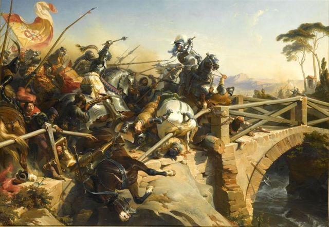Bayard sur le pont du Garigliano - Henri Félix Emmanuel Philippoteaux - 1840