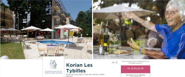 Capture d'écran de l'EHPAD Korian les Tybilles à Meudon