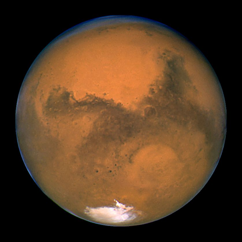NASA's Hubble Space Telescope snapped this portrait of Mars within minutes of the planet's closest approach to Earth in nearly 6