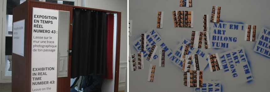 A gauche, le Photomaton de l'expo ; à droite, les photos collées sur le mur