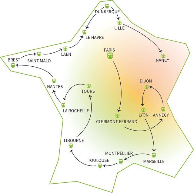 Carte de France - Train du Climat