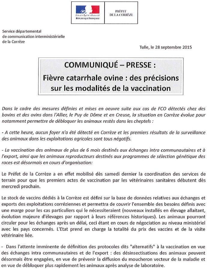 Le communiqué de la préfecture de Corrèze