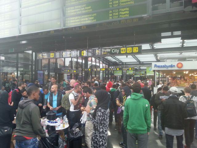Arrivée de migrants à la gare de Malmö