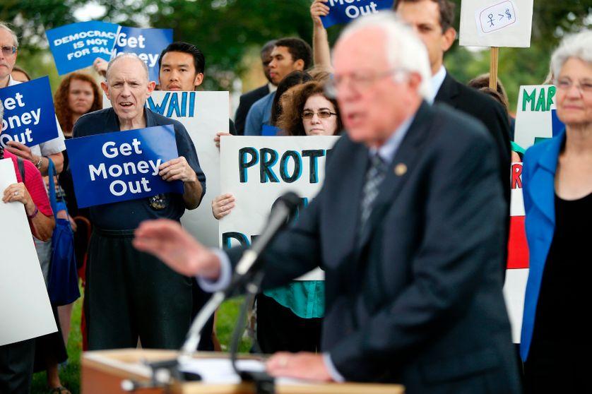Bernie Sanders, sénateur du Vermont, actuel candidat aux primaires démocrates, lors d'un meeting en septembre 2014