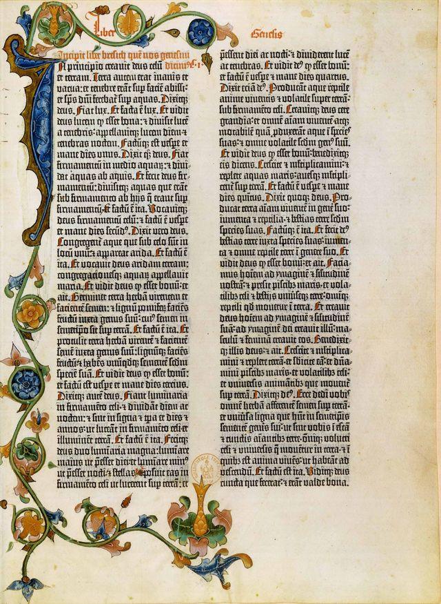 Bible à 42 lignes.-  Mayence : Johann Gutenberg, Johannes Fust, automne 1455 ? BnF, Réserve des livres rares
