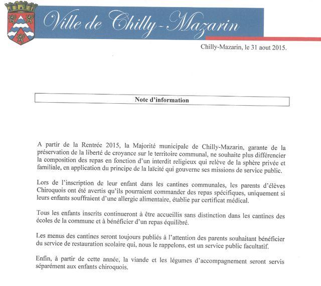 Le communiqué du maire de Chilly-Mazarin
