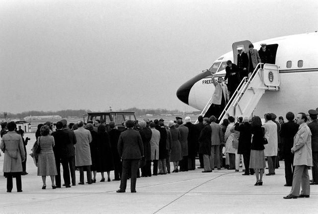 Arrivée aux Etats-Unis des ex-otages américains de Téhéran le 27/01/1981