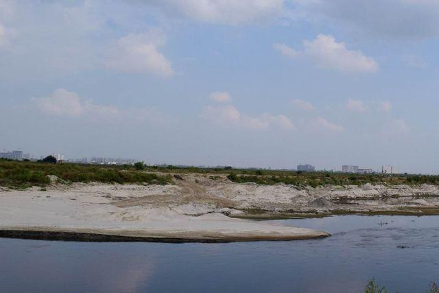La rive de la rivière Yamuna a été creusée jusqu'à former ce coude. Les traces de camion sont bien visibles.