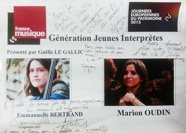 Dédicace Génération jeunes interprètes Emmanuelle Bertrand et Marion Oudin